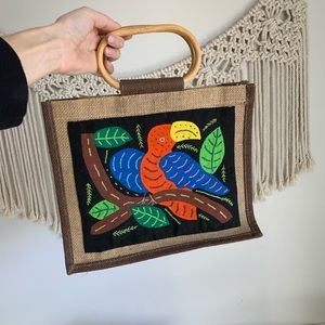 Parrot hand made patch embroidered hand bag